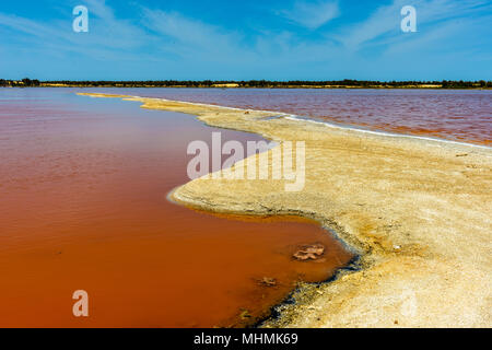 Lake Retba or Lac Rose, north of the Cap Vert peninsula of Senegal, north east of Dakar - Stock Photo