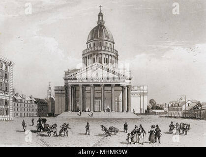 Pantheon: view of the facade       Date: circa 1820 - Stock Photo
