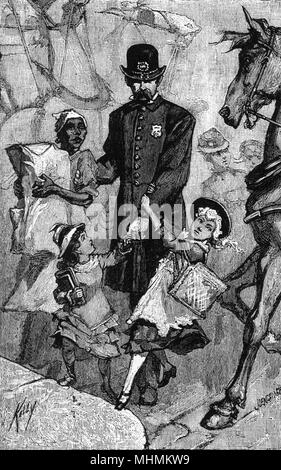 A policeman on Broadway, New York, walks across the road with an African servant and two small girls who cling onto his arm.      Date: 1882 - Stock Photo