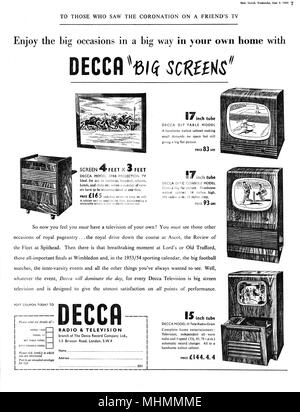 Advertisement for Decca televisions, appearing in the Coronation issue of the Daily Sketch, encouraging people to view the 'big occasions in a big way in your own home.'  The 1953 Coronation of Queen Elizabeth II is credited with boosting television ownership in the UK.  The ceremony was watched by an estimated 20 million on owned or shared TVs around the country.     Date: 1953 - Stock Photo