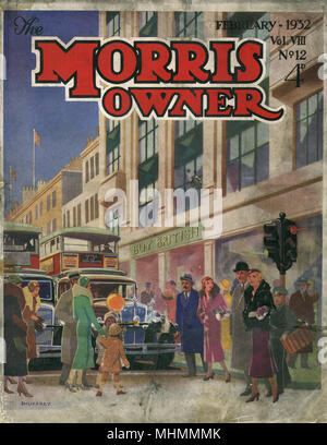 Front cover of The Morris Owner magazine from 1932, with a lovely illustration featuring a busy road on a high street populated with shoppers.  As cars and buses stop at traffic lights and wait for pedestrians to cross, a modern looking department store in the background exhorts the public to 'Buy British.'     Date: 1932 - Stock Photo