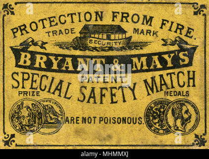 Bryant and May special safety match matchbox label with prize medals and stating protection from fire and are not poisonous     Date: c. 1910s - Stock Photo