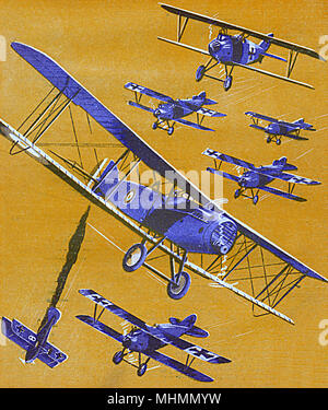 Impression of British and German fighter aircraft duelling in the skies during the First World War.      Date: 1932 - Stock Photo