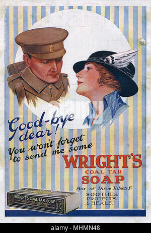 Advertisement for Wright's Coal Tar Soap from the Great War showing a soldier and his wife or sweetheart bidding farewell to each other.  Rather ruining the romantic moment, he asks her to remember to send him some soap!     Date: 1915 - Stock Photo