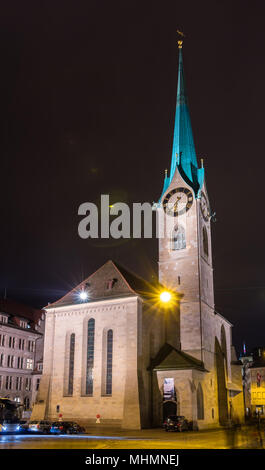 The Fraumunster Church in Zurich at night - Stock Photo