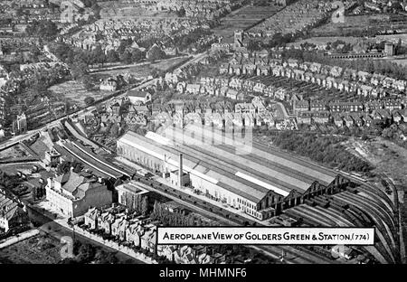 Aerial view, Golders Green and Station, NW London.     Date: circa 1910s - Stock Photo