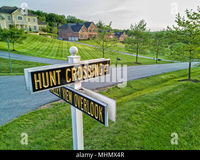 maryland country houses aerial view panorama landscape at sunset - Stock Photo