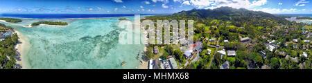 Rarotonga Muri Lagoon Polynesia Cook Islands tropical paradise view panorama landscape - Stock Photo