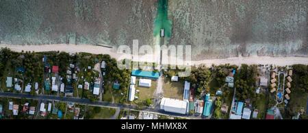 Rarotonga Polynesia Cook Islands tropical paradise aerial view panorama landscape - Stock Photo