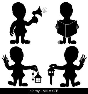Silhouette set of four man various situations, conceptual cartoon black stencil vector illustration for adverting - Stock Photo