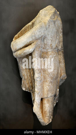 Greek art. The parapet of the Athena Nike temple. Trophy decorated with Persian armour. South side of the parapet. 5th century BC. Acropolis Museum. Athens. Greece.. - Stock Photo