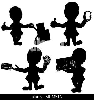 Silhouette set of four man in various situations, cartoon stencil vector illustrations isolated on the white background - Stock Photo