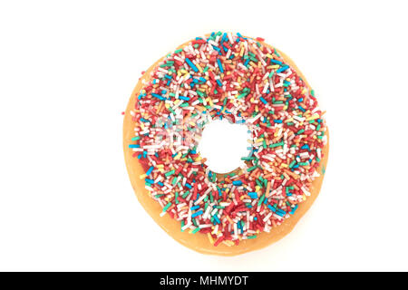 Donut with colorful sprinkles isolated on white background - Stock Photo