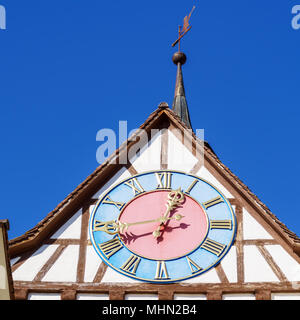 Medieval Wall Clock of Untertor (lower gate), Stein am Rhein, Schaffhausen, Switzerland - Stock Photo