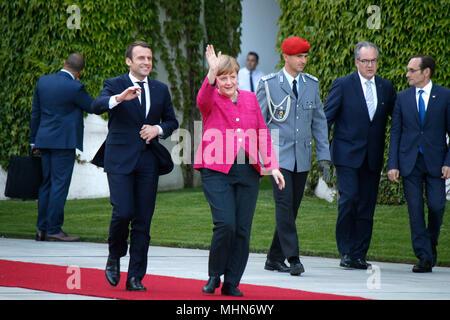 Emmanuel Macron, BKin Angela Merkel - Treffen der dt. Bundeskanzlerin mit den neuen franzoesischen Staatspraesidenten, Bundeskanzleramt, 15. Mai 2017, - Stock Photo