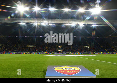 KHARKIV, UKRAINE - FEBRUARY 21, 2018: Panoramic view of OSK Metalist stadium in Kharkiv during UEFA Champions League Round of 16 game Shakhtar v Roma  - Stock Photo