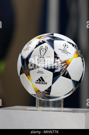 KHARKIV, UKRAINE - FEBRUARY 21, 2018: Official match ball of UEFA Champions League season 2017/18 on pedestal before Champions League Round of 16 game - Stock Photo