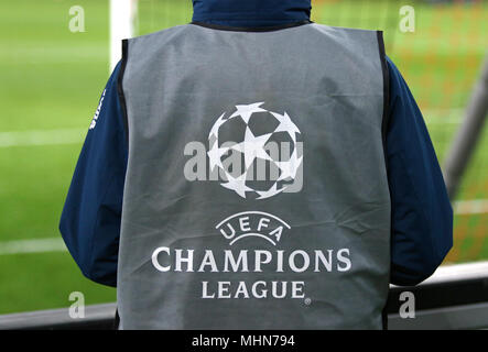KHARKIV, UKRAINE - FEBRUARY 21, 2018: UEFA Champions League logo on the ballboy's bib during UEFA Champions League Round of 16 game Shakhtar Donetsk v - Stock Photo