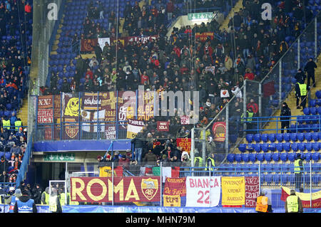 KHARKIV, UKRAINE - FEBRUARY 21, 2018: AS Roma supporters show their support during UEFA Champions League Round of 16 game against Shakhtar Donetsk at  - Stock Photo
