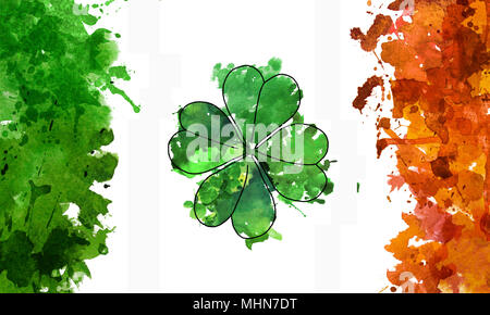 2d hand drawn illustration for St.Patrick's day. Green watercolor splash blot in shape of clover leaf. National colors of Ireland's flag. Isolated on  - Stock Photo