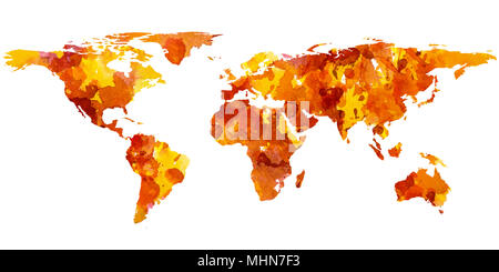 2d hand drawn illustration of world map. Red yellow splash watercolor isolated earth planet. Continents. White background. - Stock Photo