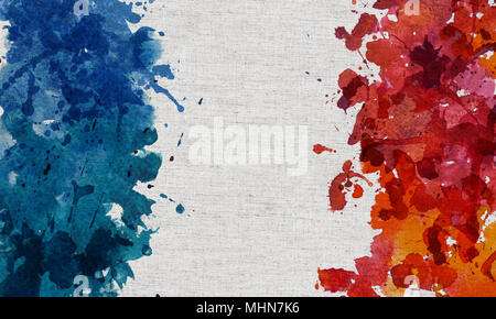 2d hand drawn illustration for National Bastille Day Holiday. Blue and red watercolor splash blot in shape of France's flag on course cloth.. - Stock Photo