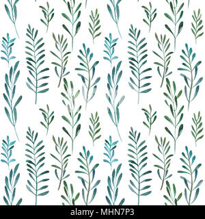 2d hand drawn watercolor seamless background. Colorful olives and lauris branches, leaves. Botanical elements. Pattern for textile, wrapping, branding - Stock Photo