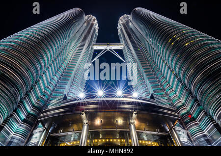 Petronas Twin Towers are twin skyscraper. They were the world tallest building from 1998 to 2004 and still the world tallest twin tower till present. - Stock Photo