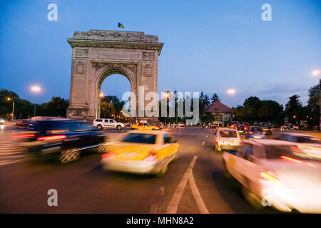 Bucharest, Romania; Triumphal Arch built in 1935 - Stock Photo