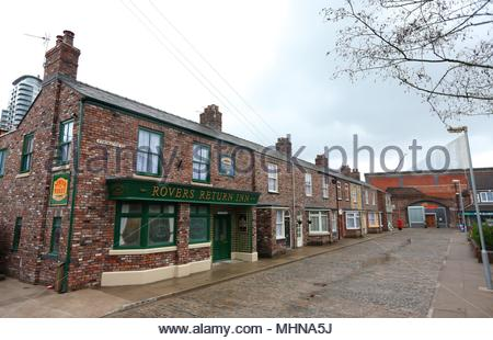 Embargoed to 0001 Thursday May 03 File photo dated 29/11/13 of the Coronation Street set at MediaCityUK in Manchester. Fans of the soap will have the chance to wander its famous cobbles as the TV set is opening to the public. - Stock Photo