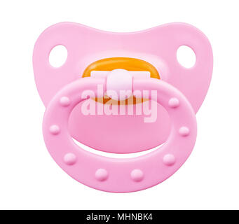 Pink orthodontic pacifier isolated on a white - Stock Photo