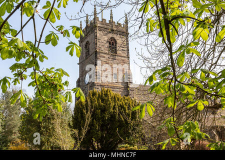 St Peters church in the centre of the historic village of Prestbury, Cheshire - Stock Photo