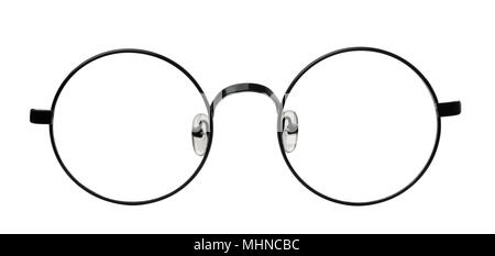 Front view of round eyeglasses frame isolated on white - Stock Photo