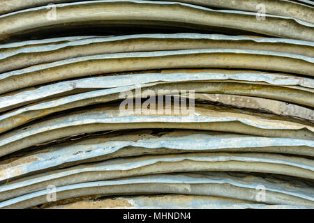 Beautiful textured background of metal oval sheets for roofing 2018 - Stock Photo