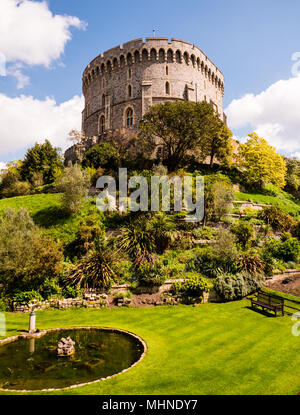 Round Tower, The Keep, Windsor Castle, Windsor, Berkshire, England, UK, GB. - Stock Photo