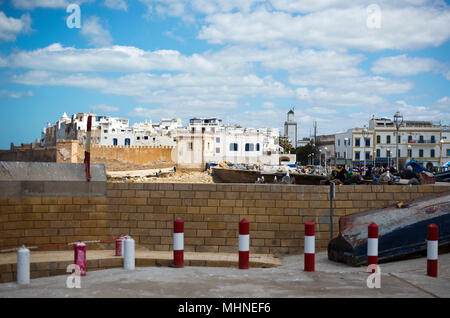 The old town medina viewed from the port area of Essaouira Morocco Essaouira, Morocco, Africa. - Stock Photo