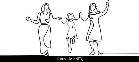 Family with mother, grandmother and girl walking - Stock Photo