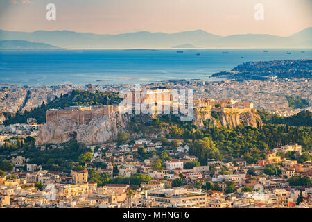 Aerial view on Athens, Greece - Stock Photo