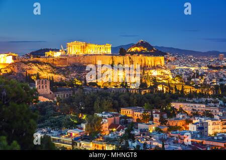 Parthenon, Acropolis of Athens, Greece at sunset - Stock Photo