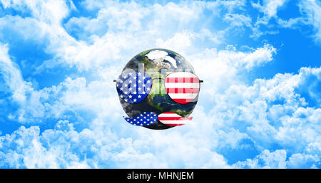 Planet Earth With Sunglasses and Mustaches. United States of America Flag. Independence Day Concept 3D illustration