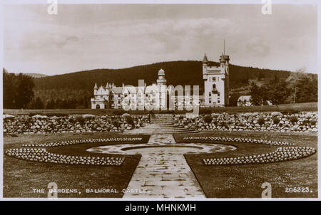 The Gardens, Balmoral Castle, Scotland.     Date: circa 1920s - Stock Photo
