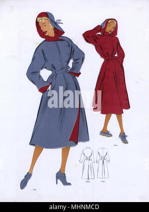 Fashion Plate - 1950s - French - Women's Costume.     Date: 1950s - Stock Photo
