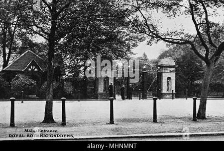 Main entrance to the Royal Botanic Gardens, Regents Park, London.      Date: circa 1910 - Stock Photo