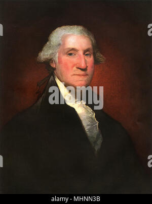George Washington (1732-1799), by Gilbert Stuart (1755-1828) - oil painting on canvas.     Date: 1795 - Stock Photo
