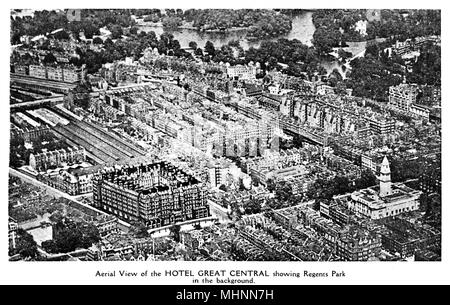 Aerial view of Hotel Great Central with Regents Park in the background, London.      Date: circa 1910 - Stock Photo