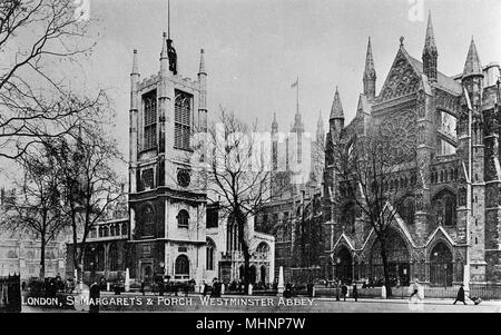 St Margaret's Church and Westminster Abbey, London.      Date: circa 1905 - Stock Photo