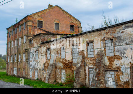Destroyed the old building in Russia - Stock Photo