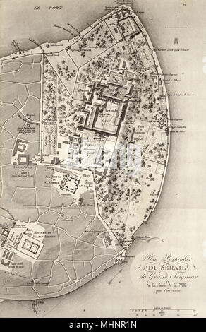 Map of the Seraglio Point, Istanbul, Turkey by Fr. Kauffer (1776 / 1786 surveys) with additional information from Barbie de Bocage (1819) .     Date: circa 1819 Stock Photo