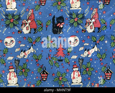 Vintage Retro Christmas Wrapping paper repeating pattern - featuring Father Christmas delivering presents, a small black kitten with a red ribbon, holly and red berries, a snowman, a dog 'helping' to deliver Christmas mail a lantern, a smiling moon, stars, snowflakes and red Christmas Trees.      Date: circa 1950s - Stock Photo