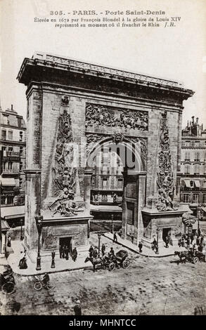 Paris, France - Porte Saint-Denis, designed by Francois Blondel showing the moment of the Crossing of the Rhine by the army of Louis XIV in 1672.     Date: circa 1910s - Stock Photo